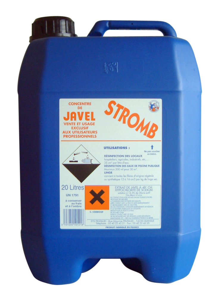 Dod javel cubitainer 12 5 20l 48 chl for Hypochlorite de sodium piscine
