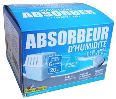 Absorbeur d'humidité 500g + 1 recharge humidivore