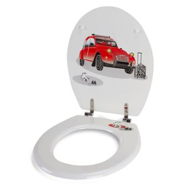 Abattant WC MDF 2 CV blanc rouge