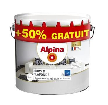 Alpina Murs Plafond Blanc Mat 10L+50%