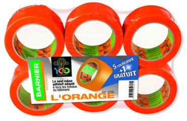 Adhésif multi-usages orange 50mmx33m lot de 5+1 rouleaux